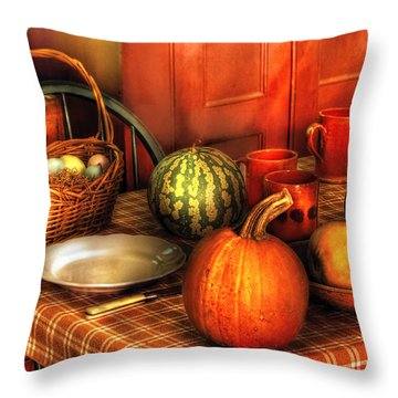 Food - Nature's Bounty Throw Pillow by Mike Savad