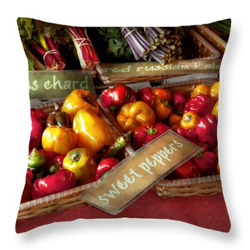 Food - Vegetables - Sweet Peppers For Sale Throw Pillow by Mike Savad