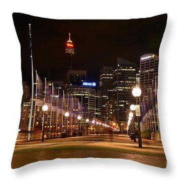 Foot Bridge By Night Throw Pillow by Kaye Menner
