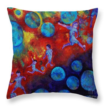 Football Dreams Throw Pillow by Claire Bull
