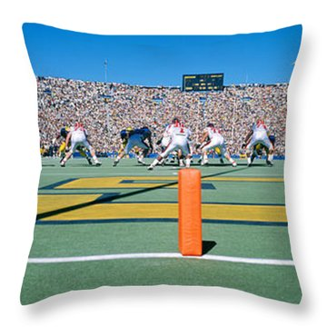 Football Game, University Of Michigan Throw Pillow by Panoramic Images