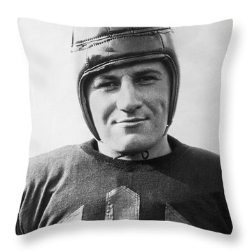 Football Player Portrait Throw Pillow by Underwood Archives