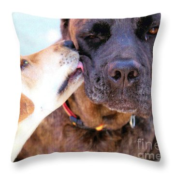 For The Love Of Dogs Throw Pillow by Janice Rae Pariza