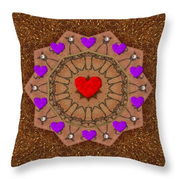 For The Love Of Hearts Throw Pillow by Pepita Selles