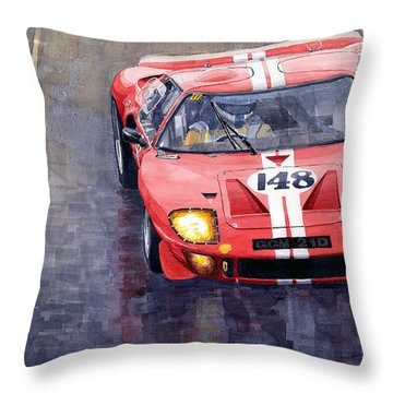Ford Gt 40 24 Le Mans  Throw Pillow by Yuriy  Shevchuk