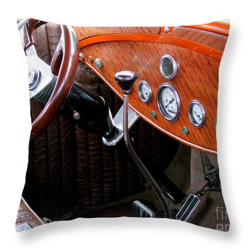 Ford V8 Dashboard Throw Pillow by Mary Deal