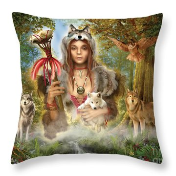 Forest Wolves Throw Pillow by Ciro Marchetti