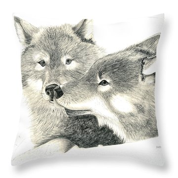 Forever Wolf Love-the Greeting Throw Pillow by Joette Snyder
