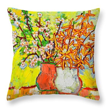 Forsythia And Cherry Blossoms Spring Flowers Throw Pillow by Ana Maria Edulescu