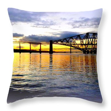 Forth Rail Bridge At Sunset Throw Pillow by The Creative Minds Art and Photography