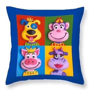 Four Animal Faces Throw Pillow by Amy Vangsgard