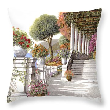 four seasons-summer on lake Como Throw Pillow by Guido Borelli