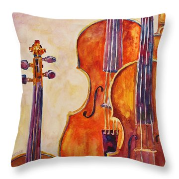 Four Violins Throw Pillow by Jenny Armitage