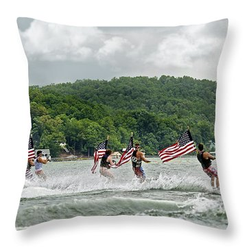 Fourth Of July Water Skiers Throw Pillow by Susan Leggett