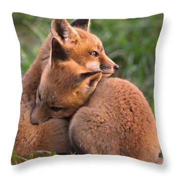 Fox Cubs Cuddle Throw Pillow by William Jobes