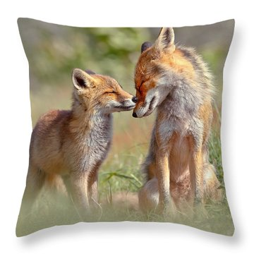 Fox Felicity - Mother And Fox Kit Showing Love And Affection Throw Pillow by Roeselien Raimond