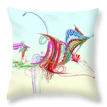 Fractal - Flying Bird Throw Pillow by Susan Savad