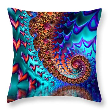 Fractal Sea Of Love With Hearts Throw Pillow by Matthias Hauser