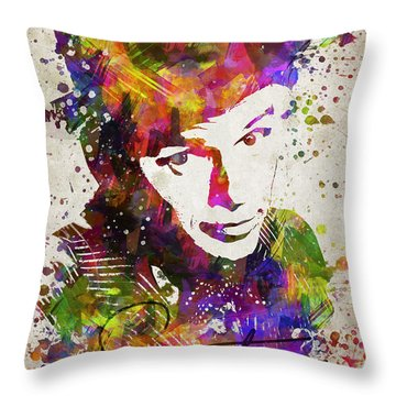 Frank Sinatra In Color Throw Pillow by Aged Pixel