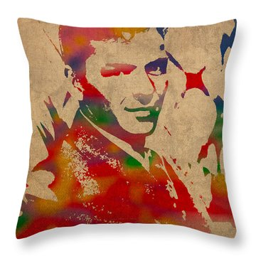 Frank Sinatra Watercolor Portrait On Worn Distressed Canvas Throw Pillow by Design Turnpike