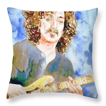 Frank Zappa Playing The Guitar Watercolor Portrait Throw Pillow by Fabrizio Cassetta