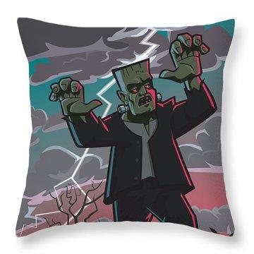 Frankenstein Creature In Storm  Throw Pillow by Martin Davey
