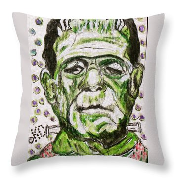 Frankenstein Throw Pillow by Kathy Marrs Chandler