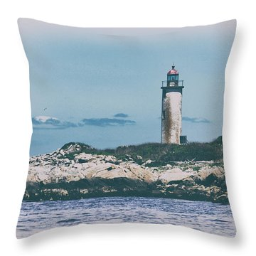 Franklin Island Lighthouse Throw Pillow by Karol Livote
