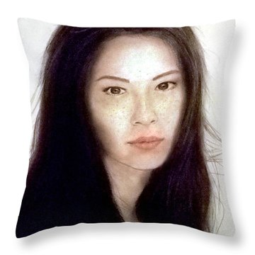 Freckled Faced Beauty Lucy Liu  Throw Pillow by Jim Fitzpatrick