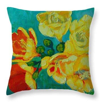 Freesia Throw Pillow by Ana Maria Edulescu