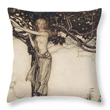 Freia The Fair One Illustration From The Rhinegold And The Valkyrie Throw Pillow by Arthur Rackham