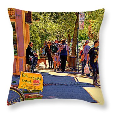 French Bread On Laurier Street Montreal Cafe Scene Sunny Corner With Vente De Garage Sign Throw Pillow by Carole Spandau