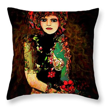 French Girl Throw Pillow by Natalie Holland