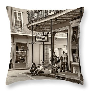 French Quarter - Hangin' Out Sepia Throw Pillow by Steve Harrington