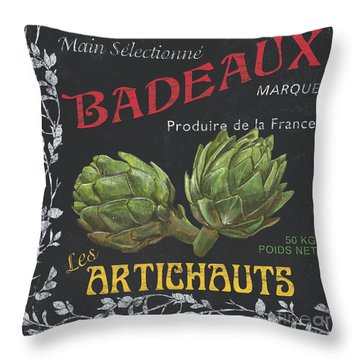 French Veggie Labels 1 Throw Pillow by Debbie DeWitt
