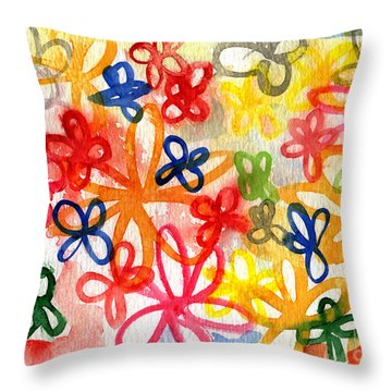 Fresh Flowers Throw Pillow by Linda Woods