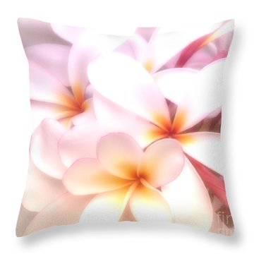 Fresh Frangipani Throw Pillow by Karen Lewis