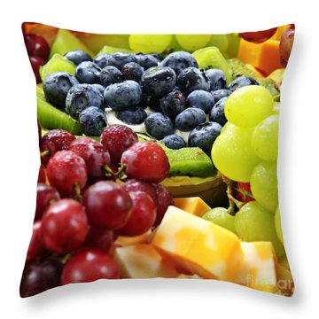 Fresh Fruits And Cheese Throw Pillow by Elena Elisseeva