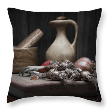 Fresh Onions With Pitcher Throw Pillow by Tom Mc Nemar