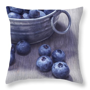 Fresh Picked Blueberries With Vintage Feel Throw Pillow by Edward Fielding
