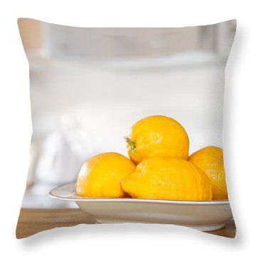 Freshly Picked Lemons Throw Pillow by Amanda Elwell