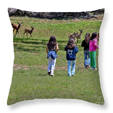 Friends Making Friends Throw Pillow by Bob and Nadine Johnston