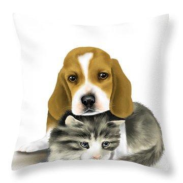 Friends Throw Pillow by Veronica Minozzi