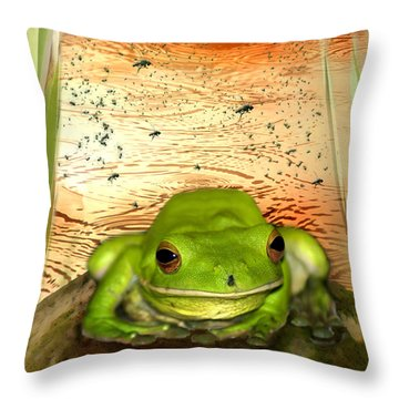 Froggy Heaven Throw Pillow by Holly Kempe