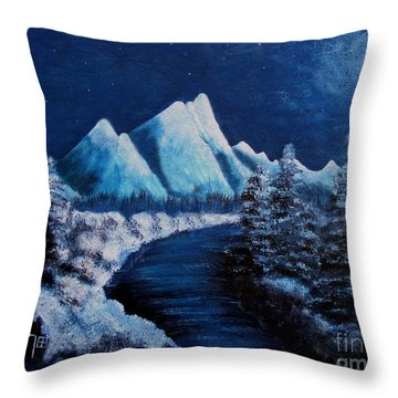 Frosty Night In The Mountains Throw Pillow by Barbara Griffin