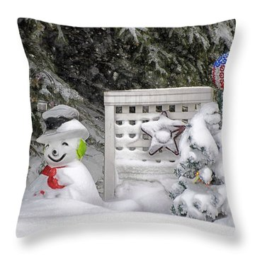 Frosty The Snow Man Throw Pillow by Thomas Woolworth