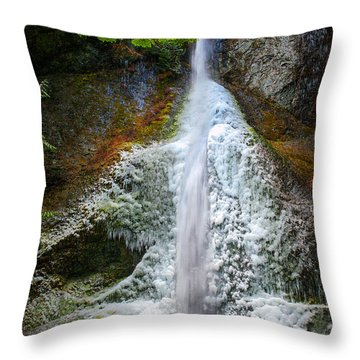 Frozen Marymere Falls Throw Pillow by Inge Johnsson