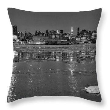 Frozen Midtown Manhattan Nyc Bw Throw Pillow by Susan Candelario