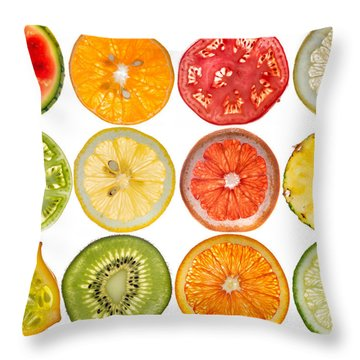 Fruit Market Throw Pillow by Steve Gadomski