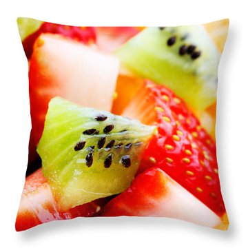 Fruit Salad Macro Throw Pillow by Johan Swanepoel